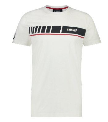 Yamaha T-shirt REVS uomo Big Stripe Winton bianca