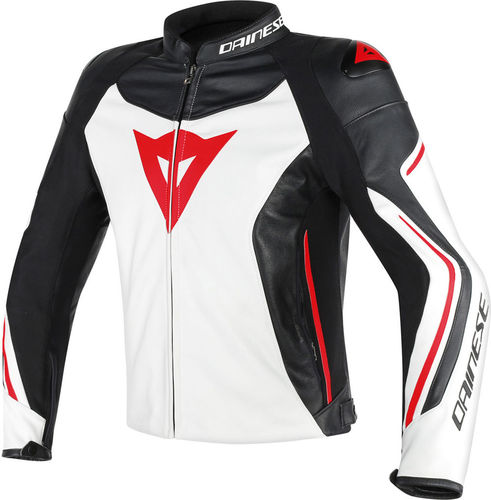 Dainese giacca pelle Assen bianco/nero/rosso