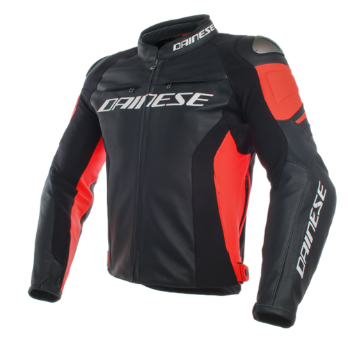 Dainese Giacca pelle Racing 3 nero/fluo red